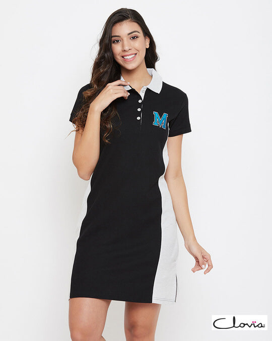 Shop Chic Basic Short Night Dress In Black   Cotton Rich-Front