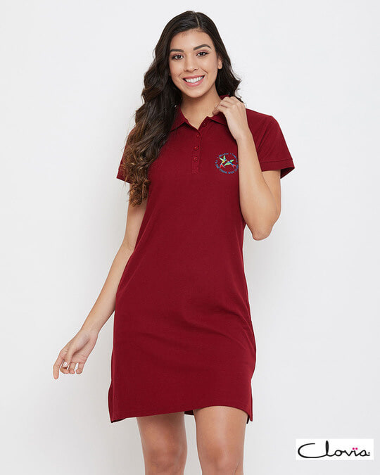 Shop Chic Basic Sleep Tee In Maroon   Cotton Rich-Front