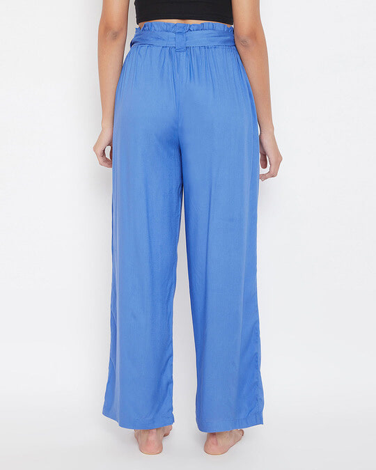 Shop Chic Basic Wide Leg Pants In Blue   Rayon-Back
