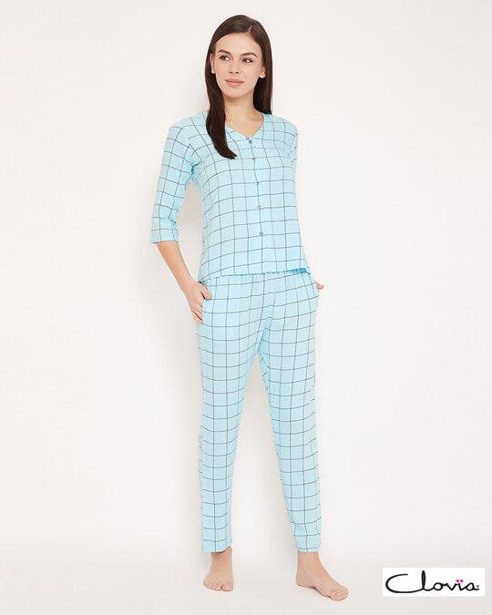 Shop Classic Checks Button Me Up Shirt & Pyjama In Light Blue   Rayon-Front