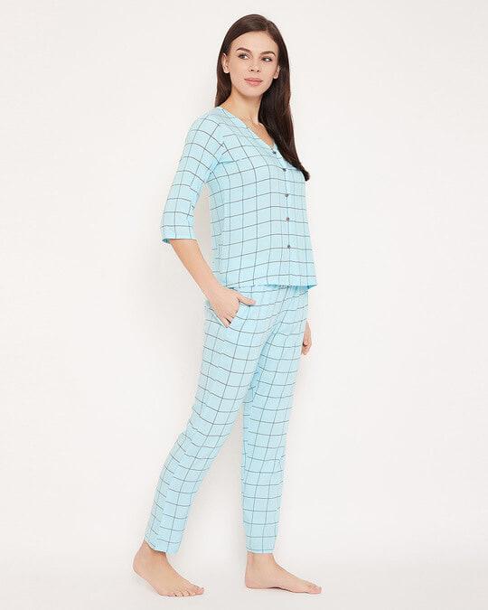 Shop Classic Checks Button Me Up Shirt & Pyjama In Light Blue   Rayon-Back