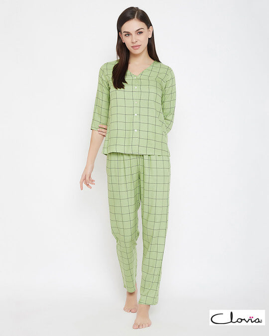 Shop Classic Checks Button Me Up Shirt & Pyjama In Mint Green   Rayon-Front