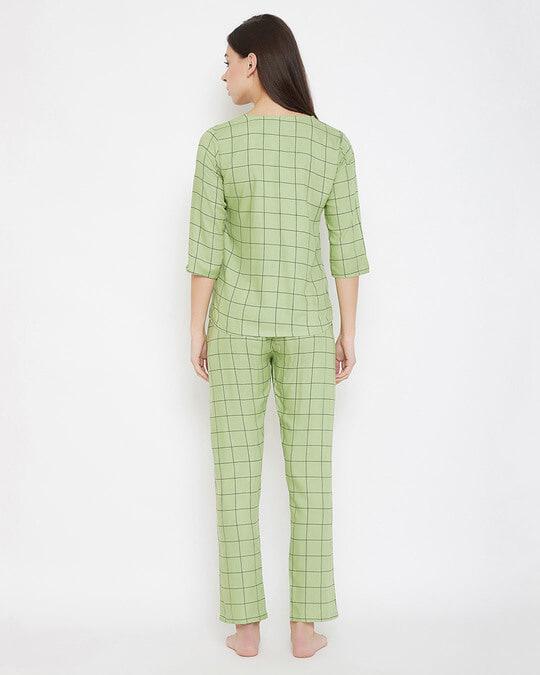 Shop Classic Checks Button Me Up Shirt & Pyjama In Mint Green   Rayon-Design
