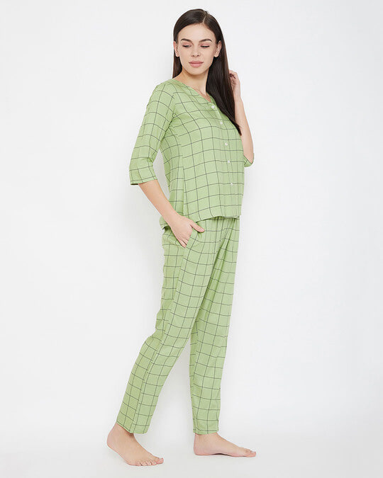 Shop Classic Checks Button Me Up Shirt & Pyjama In Mint Green   Rayon-Full