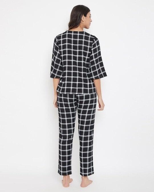 Shop Classic Checks Button Me Up Top & Pyjama In Black   Rayon-Design