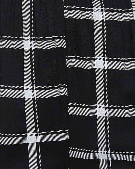 Shop Classic Checks Button Me Up Top & Pyjama In Black   Rayon