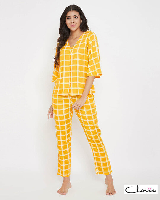 Shop Classic Checks Button Me Up Top & Pyjama In Mustard   Rayon-Front