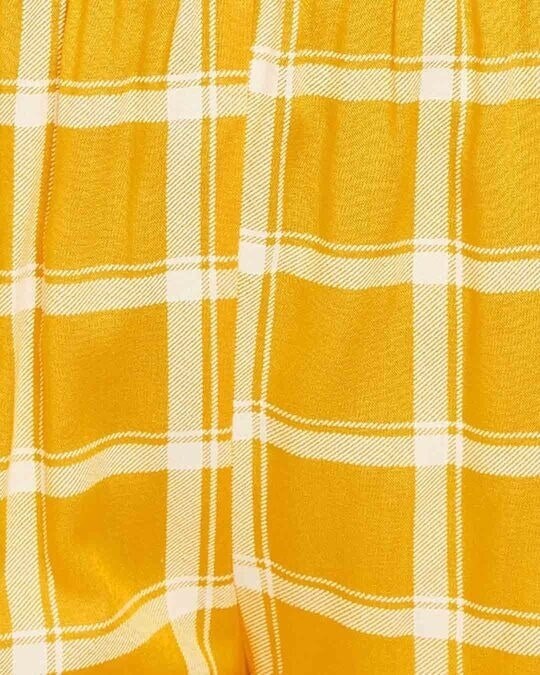Shop Classic Checks Button Me Up Top & Pyjama In Mustard   Rayon