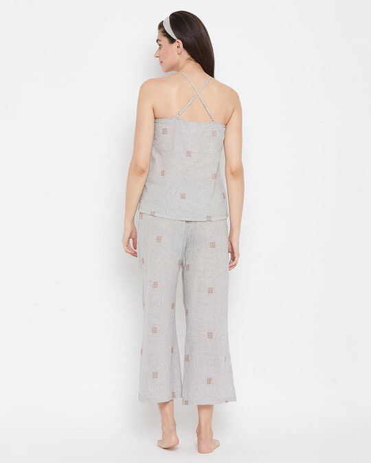 Shop Classic Checks Cami Top & Flared Pyjama In Grey With Knotted Hairband-Back