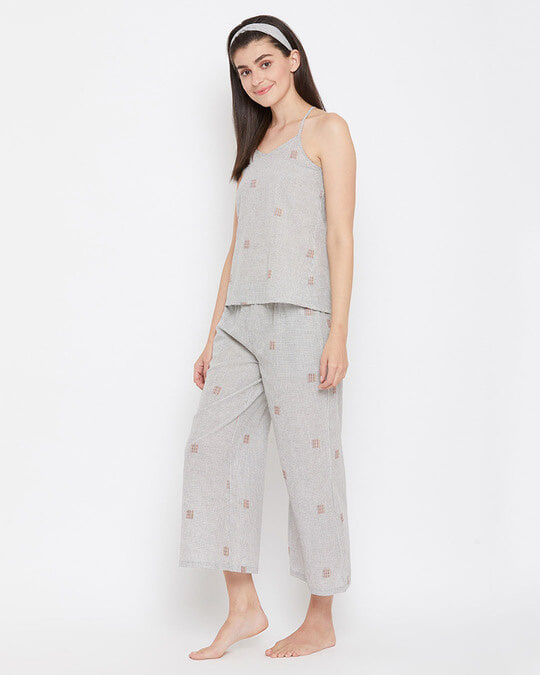 Shop Classic Checks Cami Top & Flared Pyjama In Grey With Knotted Hairband-Design