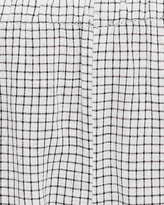 Shop Classic Checks Cami Top & Flared Pyjama In Grey With Knotted Hairband