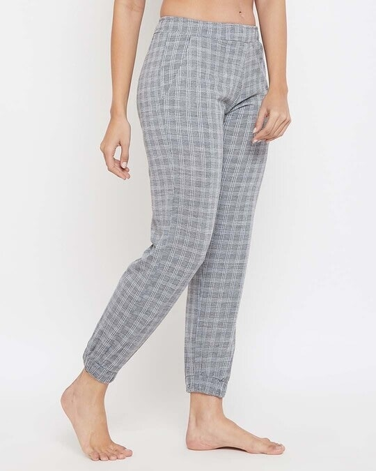 Shop Classic Checks Cuffed Pyjama In Grey   Cotton Rich-Design
