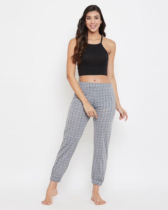 Shop Classic Checks Cuffed Pyjama In Grey   Cotton Rich-Full
