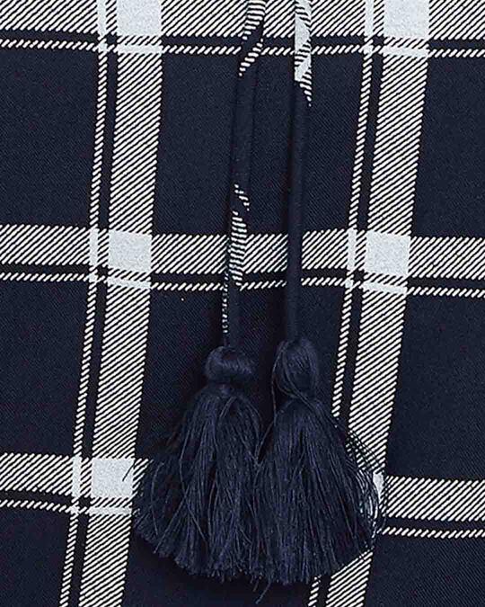 Shop Classic Checks Top & Pyjama Set In Navy   Rayon