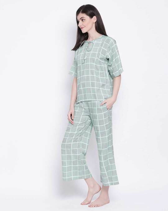 Shop Clovia Classy Checks Top & Pyjama in Teal-Back