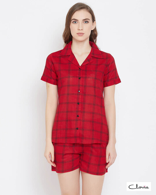 Shop Clovia Classy Checks Top & Shorts in Red- 100% Cotton-Front