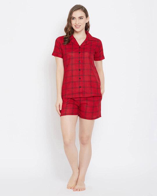 Shop Clovia Classy Checks Top & Shorts in Red- 100% Cotton-Full