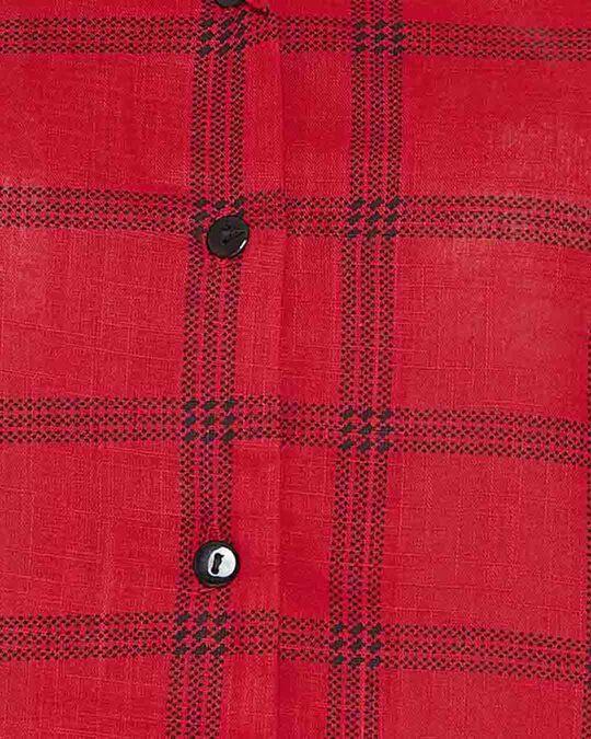 Shop Clovia Classy Checks Top & Shorts in Red- 100% Cotton