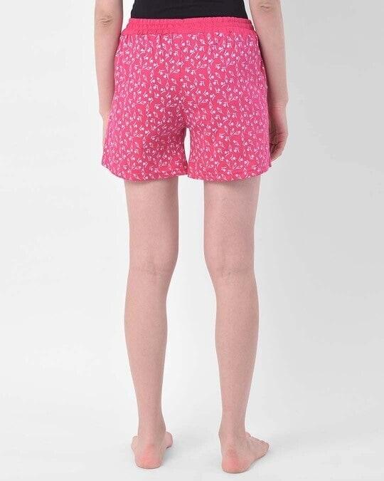 Shop Clovia Clovia Print Me Pretty Boxer Shorts in Pink- Cotton Rich-Design