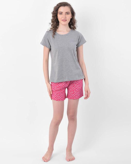 Shop Clovia Clovia Print Me Pretty Boxer Shorts in Pink- Cotton Rich-Full