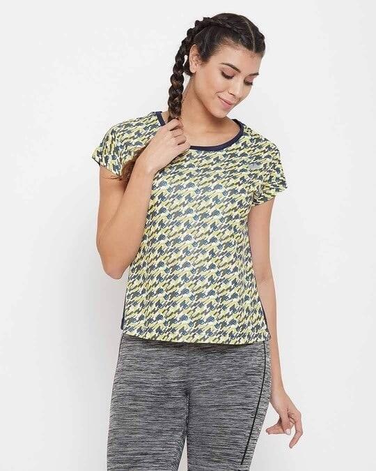 Shop Comfort Fit Active Emoji Print T Shirt In Navy-Front