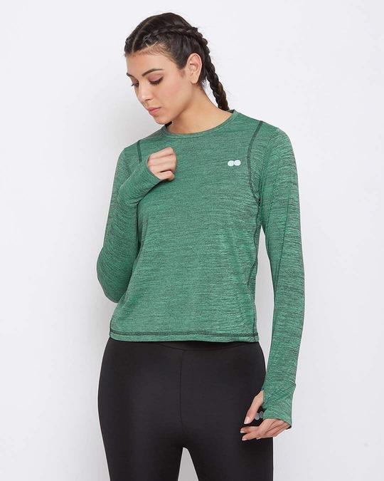 Shop Comfort Fit Active T Shirt In Green Melange-Front