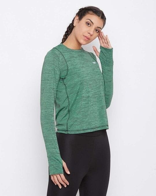 Shop Comfort Fit Active T Shirt In Green Melange-Design