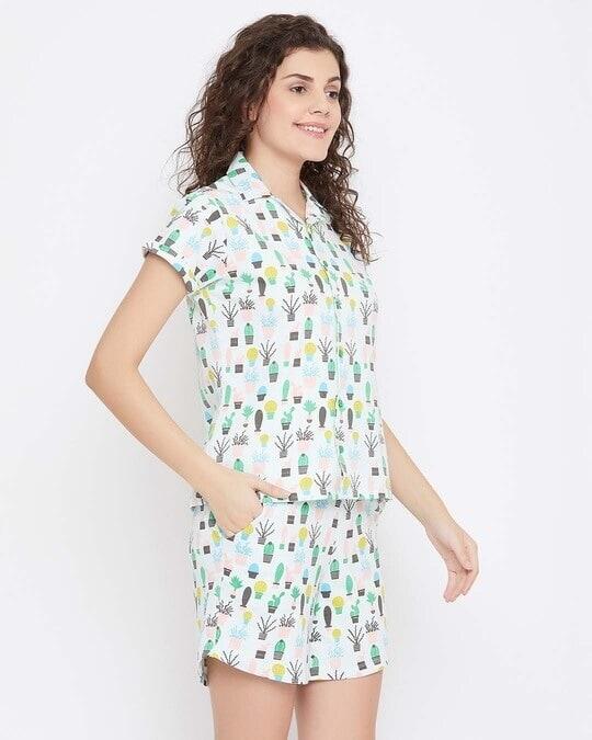 Shop Clovia Cool Cactus Shirt & Shorts Set in Light Blue- 100% Cotton-Design