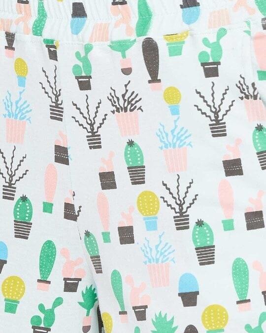 Shop Clovia Cool Cactus Shirt & Shorts Set in Light Blue- 100% Cotton