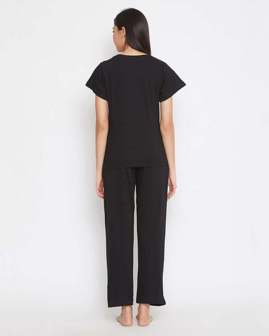 Shop Cotton Chest Printed T Shirt And Basic Pyjama Set-Design