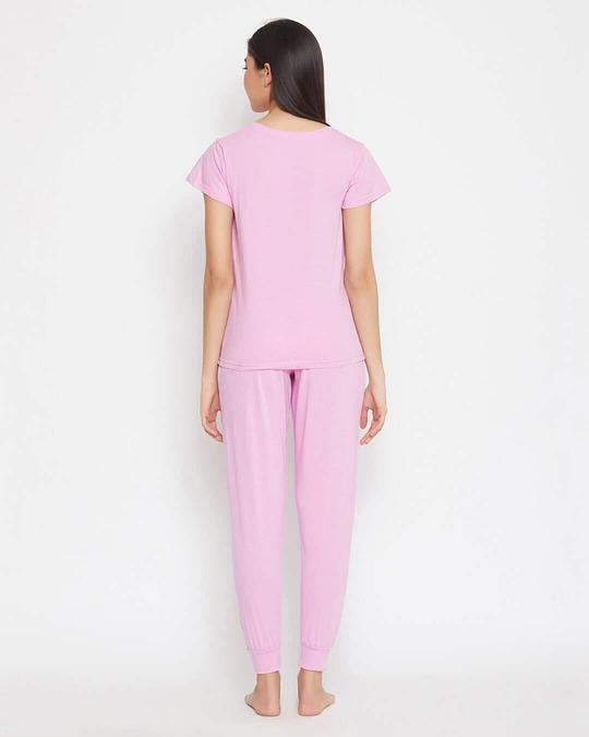Shop Cotton Chest Printed T Shirt And Basic Pyjama Set-Full