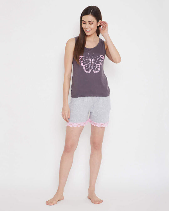 Shop Cotton Chest Printed Tank Top & Shorts Set-Full