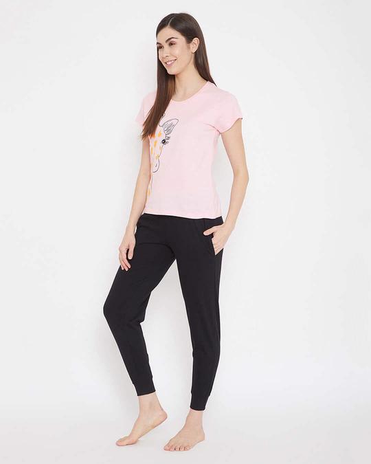 Shop Cotton Chest Printed Top & Pyjama Set-Back