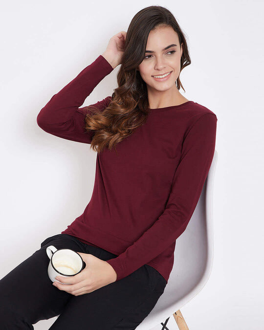 Shop Cotton Chic Basic Full Sleeve T Shirt-Front