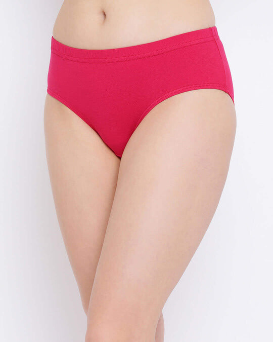 Shop Cotton Mid Waist Hipster Panty With Inner Elastic In Pink-Full