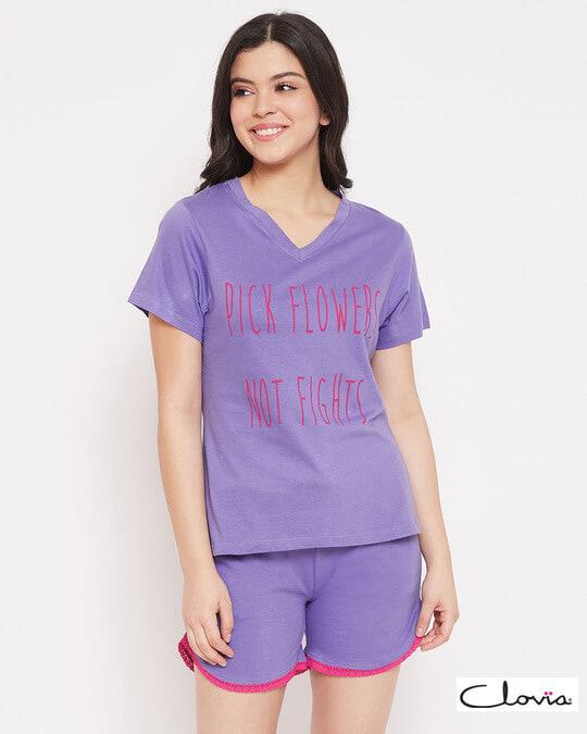 Shop Cotton Owl Printed Top & Shorts Set-Front