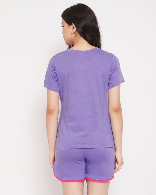 Shop Cotton Owl Printed Top & Shorts Set-Back
