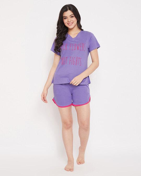 Shop Cotton Owl Printed Top & Shorts Set-Full