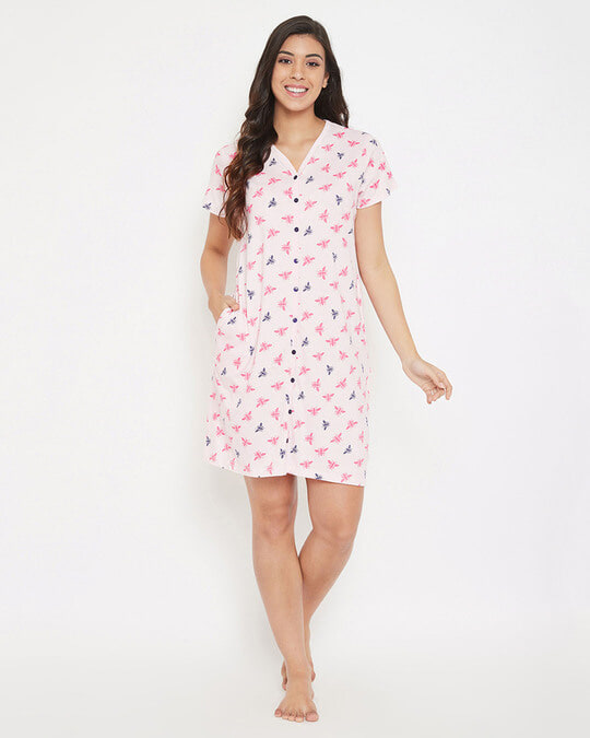 Shop Cotton Printed Button Up Short Nightdress With Pocket-Full