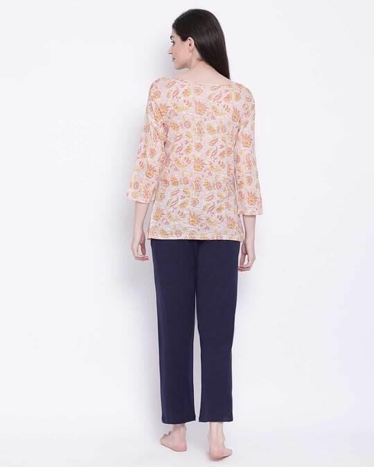 Shop Clovia Cotton Printed Top & Basic Pyjama Set-Design