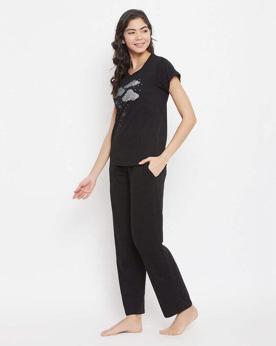 Shop Cotton Printed Top & Solid Pyjama Set-Back