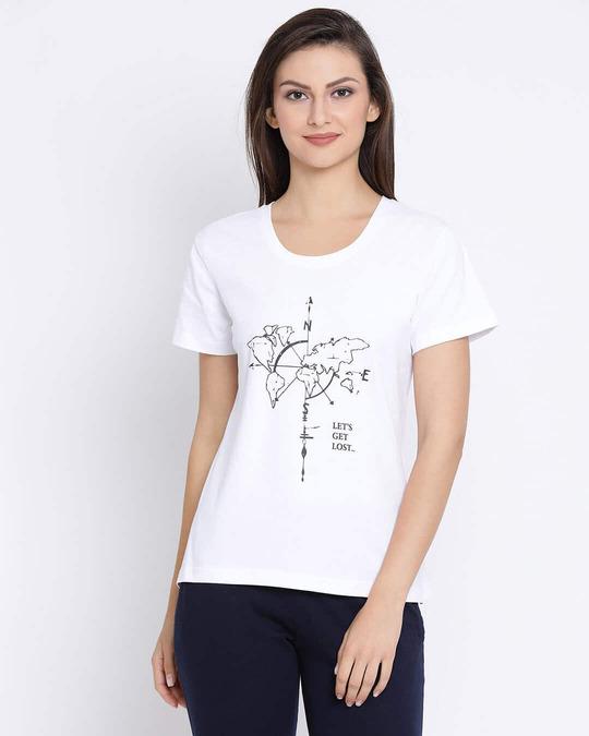 Shop Cotton Rich Chest Print T Shirt In White-Front