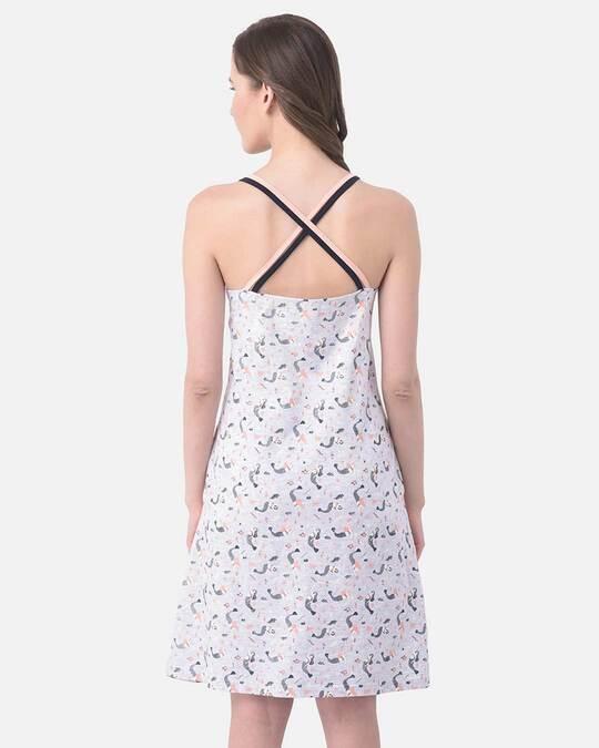 Shop Clovia Cotton Rich Printed Sleep Dress-Design