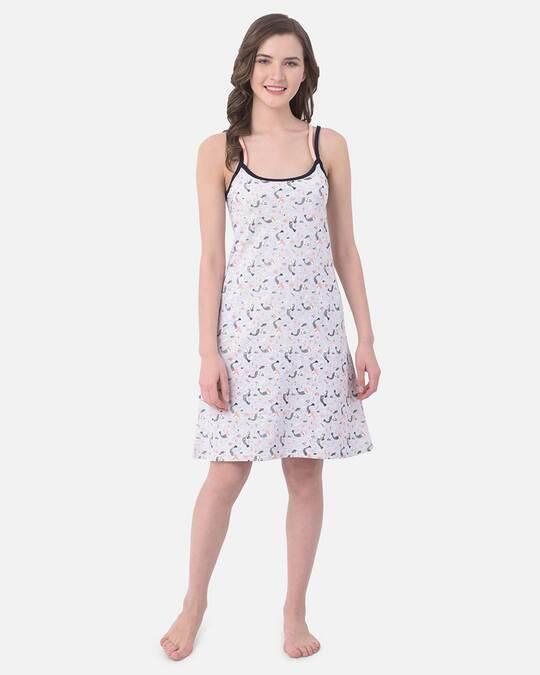 Shop Clovia Cotton Rich Printed Sleep Dress-Full
