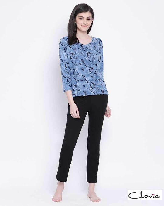Shop Clovia women Cotton Rich Pyjama & Top set-Front