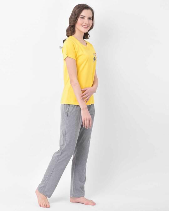 Shop Clovia Cotton Solid Pyjama with Printed Top-Back