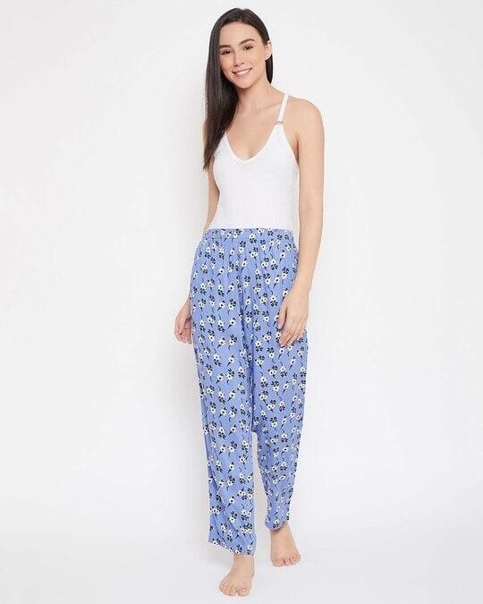 Shop Clovia Floral Print Pyjama in Blue - Rayon-Full
