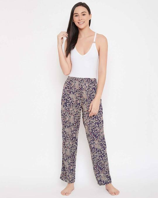 Shop Floral Print Pyjama In Navy   Rayon