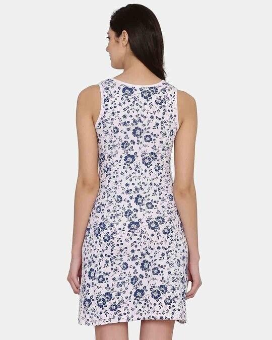Shop Clovia Floral Print Short Night Dress in Light Pink -Design