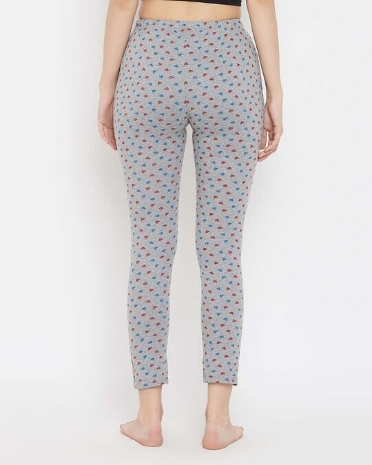 Shop Heart Print Pyjama In Grey   Cotton Rich-Back